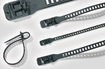Открепленные стяжки можно использовать повторно.  Они доступны в различных дизайнах, материалах, длинах, цветах и механизмах блокировки: